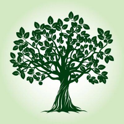 Sticker Pommier vert. Illustration vectorielle.