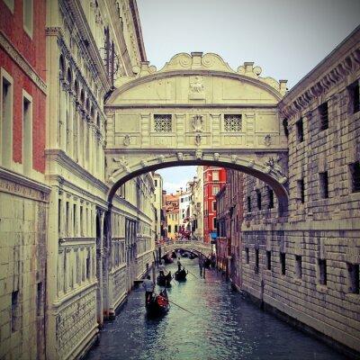 Sticker Pont des Soupirs à Venise avec des gondoles