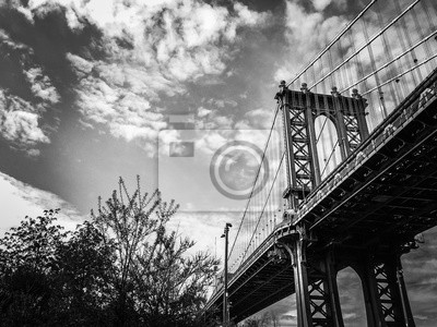 Pont et plantes de Manhattan dans le parc avec ciel nuageux en noir et blanc