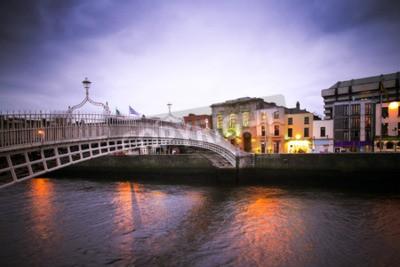 Sticker Pont Landmark Ha'Penny sur la rivière Liffey à Dublin