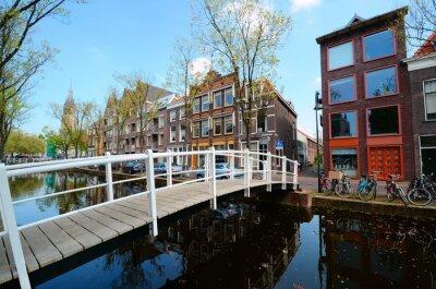 Sticker Pont sur les canaux de Delft, Pays-Bas