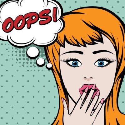 Sticker Pop art woman mignon avec signe OOPS