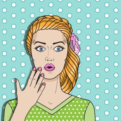 Sticker Pop femme d'art confondu, cheveux rouges surpris femme. Vecteur femme comique.