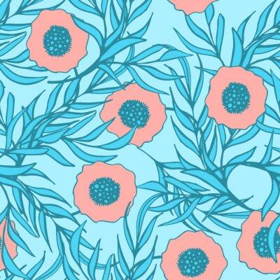 Sticker Poppy fleur vecteur modèle sans soudure. Tissu imprimé à la main dessin floral en tissu dapper. Les coquelicots rouges de corail et la branche bleue laissent le dessin naturel.