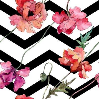 Sticker Poppy floral botanical flower. Watercolor background illustration set. Seamless background pattern.