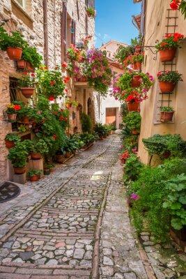 Sticker Porche dans petite ville en Italie en journée ensoleillée, Ombrie
