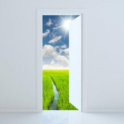 Sticker Porte ouverte à la beauté champ vert