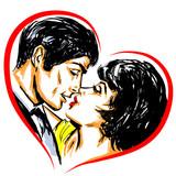 Pop Art Couple Amour Sensualité Gros Plan Baiser Dessin