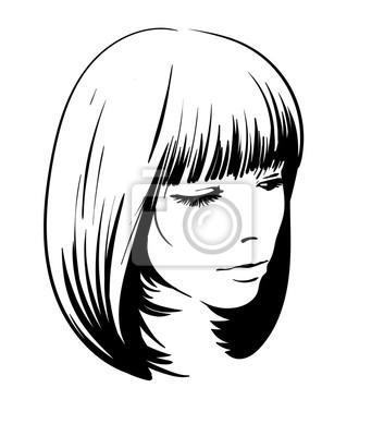 Sticker Portrait De Femme Croquis Numérique Main Dessin Vectoriel Style