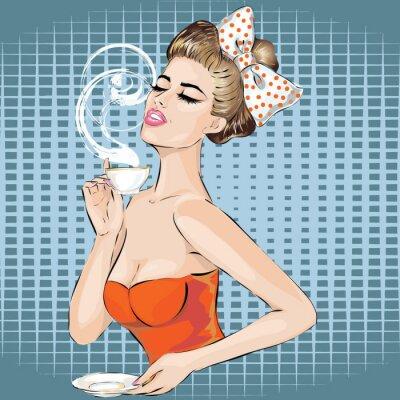 Sticker Portrait de femme d'art de bruit avec la tasse de thé de matin. Pin-up girl