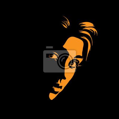 Sticker Portrait De Jeune Fille En Contre Jour Dessin De Style Noir