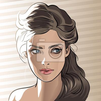 Dessin Fille portrait de jeune fille en contre-jour. style de dessin animé