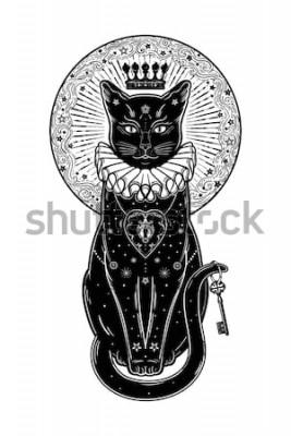 Sticker Portrait de silhouette de chat noir avec clé secrète dans le fond de la lune. Fond idéal d'Halloween, art de tatouage, design boho. Parfait pour imprimer, affiches, t-shirts, textiles. Illustratio