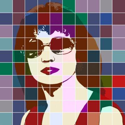 Sticker Portrait, femme, effet, taché, verre