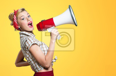 Sticker Portrait of woman holding megaphone, dressed in pin-up style