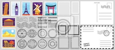 Sticker Postage stamps. Air mail envelope, post office stamp and postal stamps vector set. Cachets and postmarks with different landmarks illustrations. Blank postcard and letter templates with copyspace