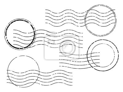Sticker Postage stamps. Wavy and circular postage cancellation.
