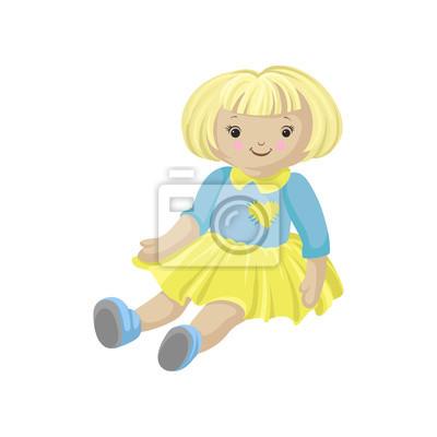 Sticker Poupée Molle Blonde Mignonne Dans Une Robe Vecteur De Dessin