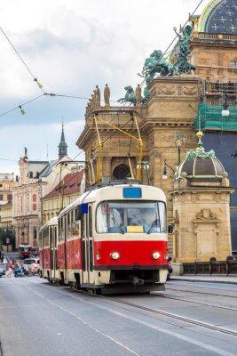 Prague détail de tramway rouge, République tchèque