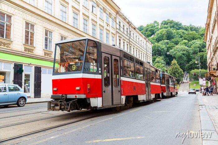 Sticker Prague, rouge, tram, détail, République ...