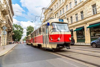 Prague rouge Tram detail, République tchèque