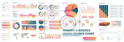 Sticker Présentation du modèle de présentation. Graphes de données commerciales. Graphiques financiers et marketing de vecteur.