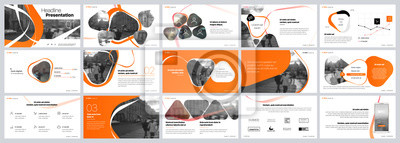 Sticker Presentation template. Orange elements for slide presentations on a white background. Use also as a flyer, brochure, corporate report, marketing, advertising, annual report, banner. Vector