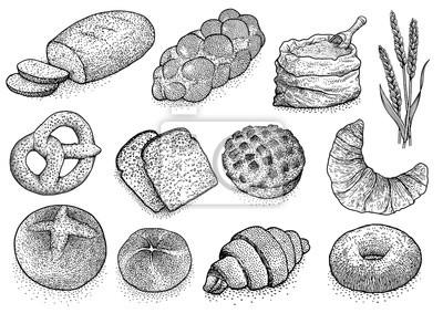 Dessin Boulangerie produits de boulangerie illustration, dessin, gravure, encre
