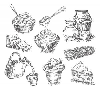 Sticker Produits laitiers à la main, lait, fromage. esquisser