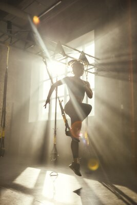 Sticker Professional training. Full-length of young athletic woman in sports clothing training legs with trx fitness straps in the gym.