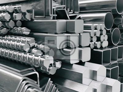 Sticker Profilés et tubes métalliques. Différents produits en acier inoxydable.