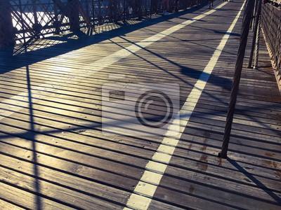 Promenade du pont de Brooklyn dans le style vintage, New York