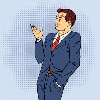 Sticker Publicité Man in Pop Art Style Pointing Main sur votre produit
