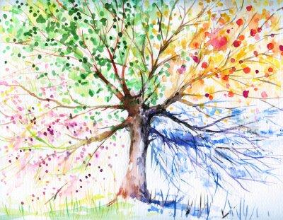 Sticker Quatre arbres de saison