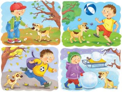 Quatre saisons coloriage affiche un gar on mignon et son chiot stickers pc portable - Dessin 4 saisons ...
