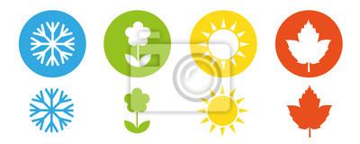 Sticker quatre saisons hiver printemps été automne icône set vector illustration EPS10