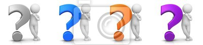Sticker question mark 3d silver blue orange purple with white standing thinking asking stick figure man person character isolated on white