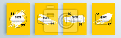 Sticker Quote frames blank templates set. Text in brackets, citation empty speech bubbles, quote bubbles. Textbox isolated on color background. Vector illustration.
