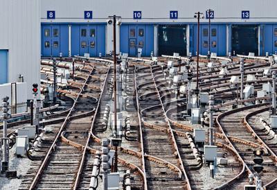 Rail tracks in subway depot, Kiev