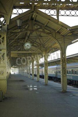 Sticker Railroad station - 5 - Railroad station platform with a hanging clock,