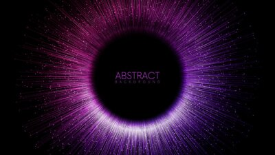 Sticker Rays or lines with glowing particles fly out of black hole. Abstract vector background with place for your content. Easy to change colors
