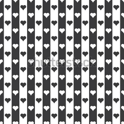Sticker Rayures et coeurs noir et blanc sans couture