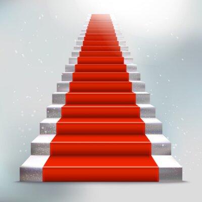 Sticker Réaliste Ladder pierre avec tapis rouge et la lumière