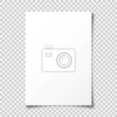 Sticker Realistic blank paper sheet with shadow in A4 format on transparent background. Notebook or book page with curled corner. Vector illustration.