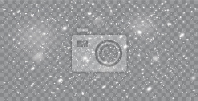 Sticker Realistic falling snow or snowflakes. Isolated on transparent background - stock vector.