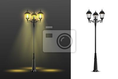 Sticker Realistic Street Lights Composition Set
