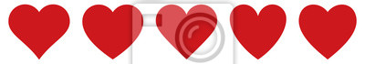 Sticker Red heart icons set vector