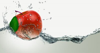 Sticker Red,juicy Apple in a spray of water.