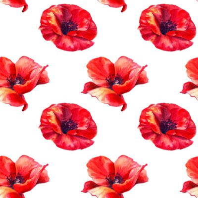 Sticker Red poppies on a white background. Floral seamless pattern with big bright flowers.Summer watercolour illustration for print textile,fabric,wrapping paper.