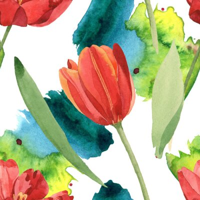 Sticker Red tulip floral botanical flowers. Watercolor background illustration set. Seamless background pattern.